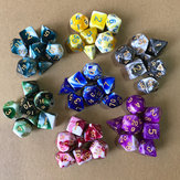 7pcs Polyhedral Dices TRPG Game Dungeons And Dragons Dices com Armazenamento Bolsa