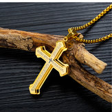 Three-layer Cross Titanium Steel Men's Necklace