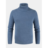 Men's New Male Self-cultivation High Collar Solid Color Sweaters