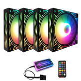 Coolmoon BILLOW 4PCS 120mm Multilayer Backlit RGB Cooling PC Fans Mute Computer PC Case Cooling Fan with the Remote Control