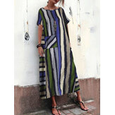 Boheemse multi-color gestreepte print Plus Maxi-jurk in maat