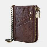 男性本革RFID盗難防止ヴィンテージジッパーコインバッグカードホルダーチェーン財布