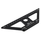 Drillpro ES-4 Aluminum Alloy 45 Degree Scribing Ruler with Base Woodwokring Marking Angle Ruler T Ruler Measuring Tool