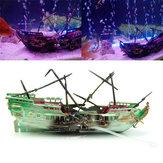24cm gebroken hars wrak zeilboot gezonken schip lucht split aquarium grot decoraties