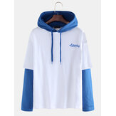 Mens Casual Patchwork Color Hooded Drawstring Long Sleeve Sweatshirt