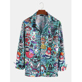 Mens Ethnic Printing Pocket Vacation Long Sleeve Casual Shir