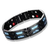 Heren Carbon Titanium Staal Magnetische armband Therapie Energie Gezondheid