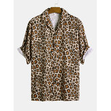 Men Leopard Print Short Sleeve Relaxed Revere Shirts
