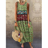 Women Sleeveless O-neck Floral Print Summer Maxi Dress