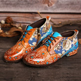 Women Casual Retro Flowers Genuine Leather  Flats