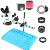 業界3.5X-90X Simul-focal Trinocular Stereo Microscope VGA HD Video Camera 720P 13MP for Phone PCB Soldering Repair Lab