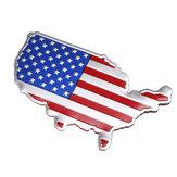 3D Coche Autoadhesivos Metal EE. UU. Estados Unidos Mapa americano Bandera Decal Emblema