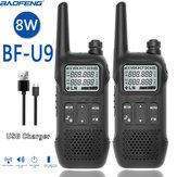 2PCS BAOFENG BF-U9 8W Portable Mini Walkie Talkie Handheld Hotel Civilian Radio Comunicacion Ham HF Transceiver US Plug