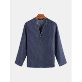 Heren Casual Blauw Denim Shirts met lange mouwen en V-hals