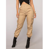 Solid Color High Elastic Waist Casual Harem Pants