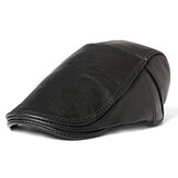 Mens Warm Real Cowhide Leather Strap Adjustable Painter Beret Caps Outdoor Durable Forward Hat