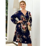 Plus Tamanho Mulheres Holiday V-neck Puff Sleeve Floral Dress