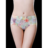Mid Waisted Floral Printing Seamless Cotton Crotch Briefs