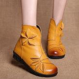 Женская цветочная кожа ручной работы удобная лодыжка Ботинки