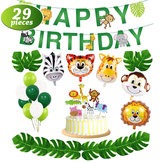 29pcs/set Jungle Animal Decorations Happy Birthday Banner Animal Balloons and Animal Cake Toppers for Zoo Theme Birthday Party Decorations