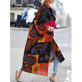 Women Vintage Loose Printed Long Sleeve Cardigans