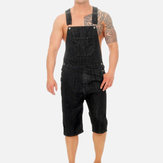 Men's Casual Vintage Denim Overalls Suspenders Ripped Jeans
