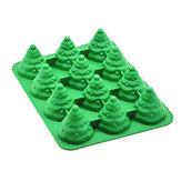 12 Отверстий 3D Рождественская Елка Торт Плесень Муссы Силиконовый Плесень Торт Форма для выпечки олова Инструмент