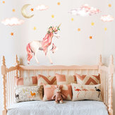 Pink Horse Cloudy Sky Wall Stickers Romantic Lovely Diy Sticker Moon Star Wall Sticker