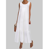 Solid Color Sleeveless O-neck Loose Casual Maxi Dress