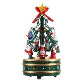 Hölzerner Weihnachtsbaum-drehende Spieluhr spielt Kinderweihnachtsgeschenk-Inneneinrichtungen