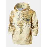 Herren Loose Yellow Map Langarm Print Hoodies Sweatshirt