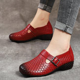 Women Hook Loop Pattern Vintage Casual Flat Shoes