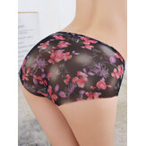 Femmes Floral Print Mesh See Through Low Waist Soft Slip