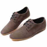 Men Suede Solid Color Lace Up Business Casual Flats