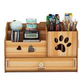 Uchwyt na długopisy Biurowe Wielofunkcyjne pudełko na różne przedmioty Dekoracja biurka Drewniany organizer na biurko Artykuły biurowe Dom Regał do przechowywania z szufladą