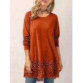 Frauen-Normallack-Spitze-Patchwork-mit Kapuze Sweatshirt-Bluse