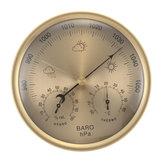 3つ1つの金の壁に掛かる天候温度計の気圧計の圧力計の湿度計に付き