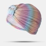 Kadınlar Pileli Beanie Şapka Düz Renk Basit Türban Kap