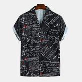 Mänblommigttrycktanedgångenkragehawaiian stil skjortor