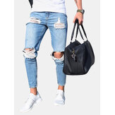 Ripped Stylish Low Waist Skinny Blue Jeans