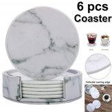 6Pcs Marble Cup Coaster Mat Rodada de isolamento térmico de couro para mesa de cozinha