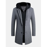Men's Korean Casual Wool Woolen Coat Long Detachable Hat Tre