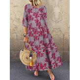 Kadın 3/4 Kollu O-Boyun Çiçekli Maksi Elbise