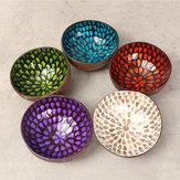 Colorido pavo real Coco Shell Bowl platos artesanal pintura artesanía arte Snacks Bowl decoración del hogar