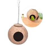 Bird Nest Natural Coconut Shell Bird Nest Parakeet House Hut Parrot Cage Pet Toys Feeder Feeding Cages