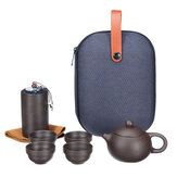 8 Pcs Travel Teapot Tea Set Purple Sand Pot+4 Cup+Tea Caddy+Storage Bag
