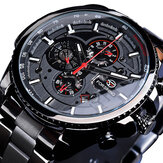 Forsining GMT1137 Fashion Men Watch Luminous Week Month Pantalla Automático Mecánico Reloj