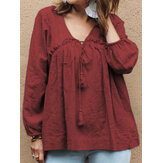 Women Cotton Pure Color V-Neck Puff Sleeve Blouse