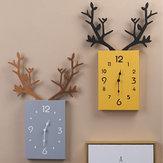 Parede de madeira simples do antler da parede de 50 x de 35cm Relógio decoração do escritório domiciliário da parede dos numerais romanos