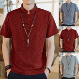 Men Casual Short Sleeve Stand Collar Chinese Style Button Shirts Kung Fu Top Tee